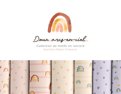 Surface Pattern Design - Doux arcs-en-ciel