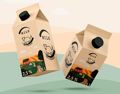 Landscape illustration for milk packaging