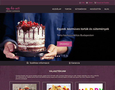 Webdesign for an online cake shop