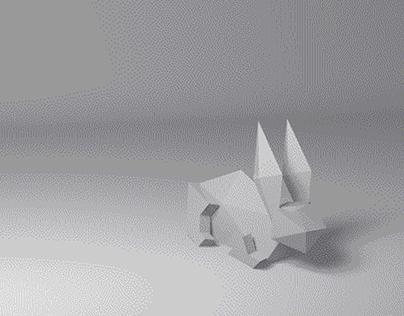 Conejo modelado con polígonos