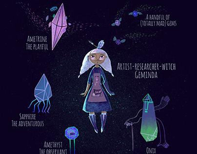 Character design: Geminda and her Magic Crystals