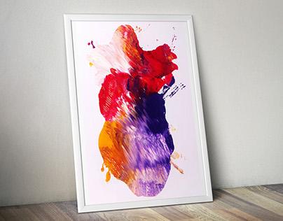 Art Project . INK Heart Broken Printing