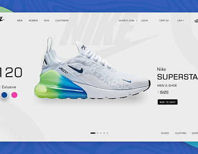 Ecommerce Web Design Mockup for Shoe Product