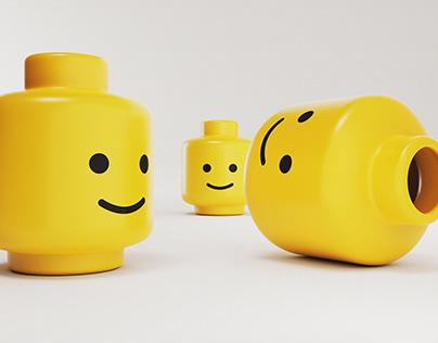 Freebie: 3D render of yellow plastic emoticon smiling.