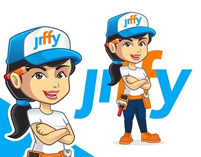Female character design for http://jiffyondemand.com/
