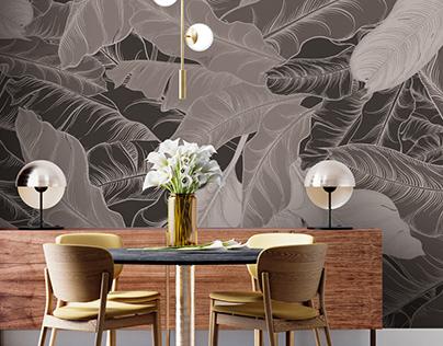 Wallpaper-Tropical leaves-