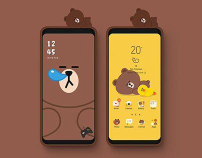 Line Friends Brown - Smart Cover Mobile Theme