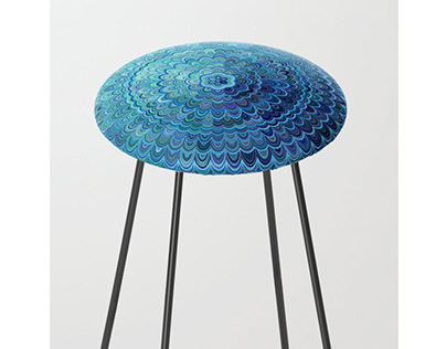Frozen Oval Mandala Counter Stool