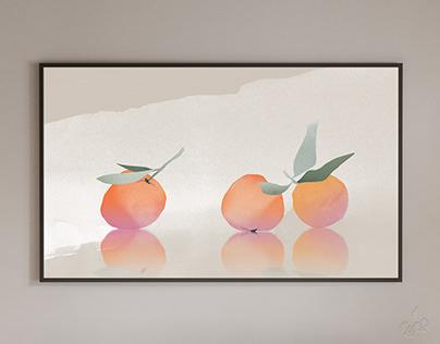 Tangerines watercolor professional printable art 2022