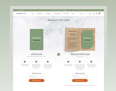 Giftcard Design, Web Design - igourmet Giftcard Page