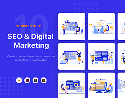 SEO & Digital Marketing Illustration