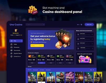 Slot machine casino dashboard panel