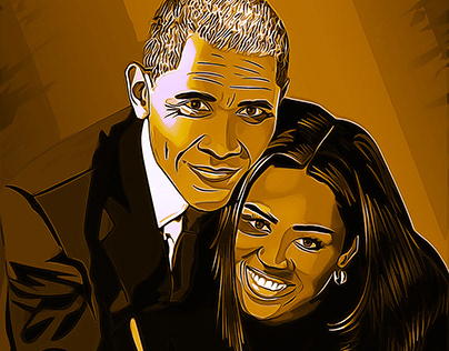 President Obama and Michelle cartoon vector