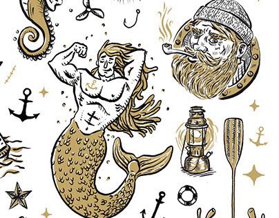 Nautical temporary tattoos