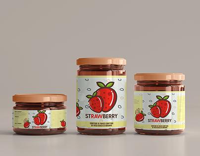 Strawberry jar Label design I Packaging
