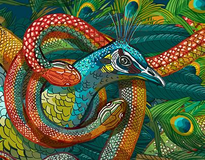 Peacock & Snake
