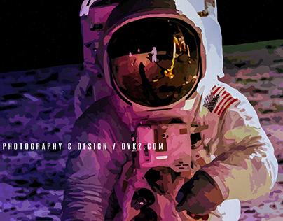 Astronaut illustration with logo