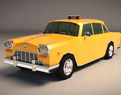 Low Poly Yellow Cab 01