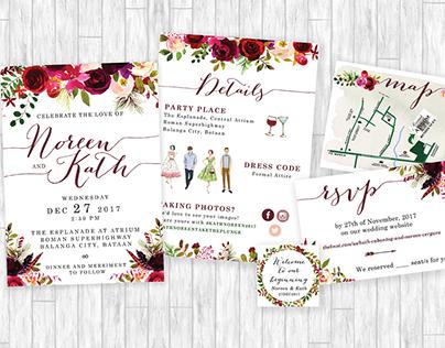 Noreen & Kath Floral Wedding Invitation