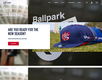 USA Baseball Shop Web Design Mockup