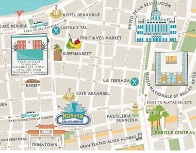 Illustrated map of Havana, Cuba