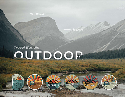 Outdoor. Travel bundle. 12 logos