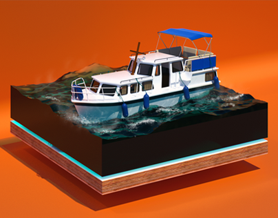 Boat Ahoy 3D Illustration