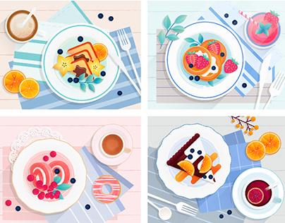 早餐矢量插画练习