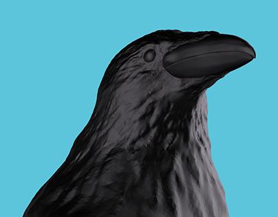 Perched Crow /// umbrella handle digital sculpting