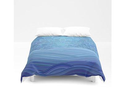 Blue Mandala Sunset at the Ocean Duvet Cover