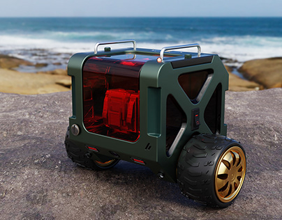 Two-wheeled robot transports parts to difficult terrain