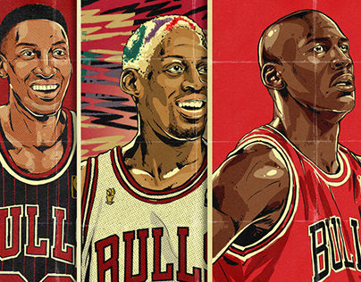 The Last Dance. Illustrated series of 90s NBA Legends