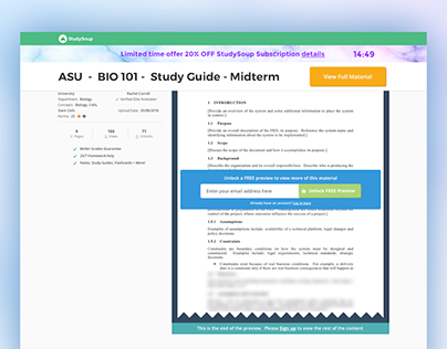StudySoup On-Scroll public facing details page UI - des