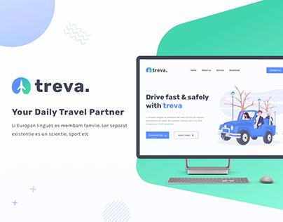 Treva: Landing Page For Car Rent Web & App