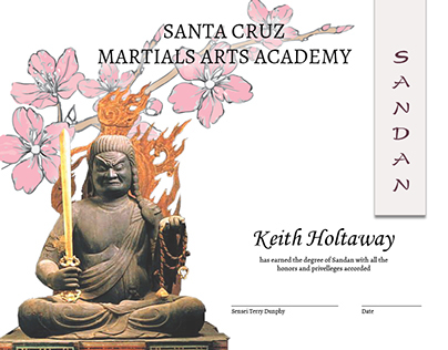 Certificate of Fudo & Cherry Blossoms for Dan Ranking