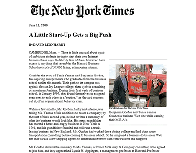 Ben Gordon in New York Times: A Little Start-Up, 3PLex