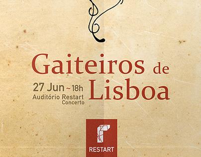 Cartaz do concerto dos Gaiteiros de Lisboa na Restart