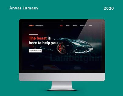 Landing page for Lamborghini company