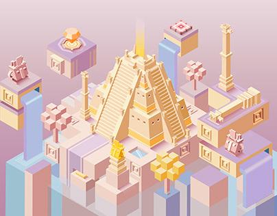 Lost Civilization-Maya Water City 2.5D illustration