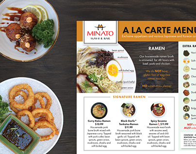 Minato A La Carte Menu Design + Food Photography
