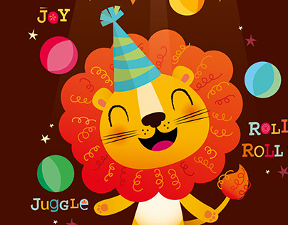 Happy circus lion