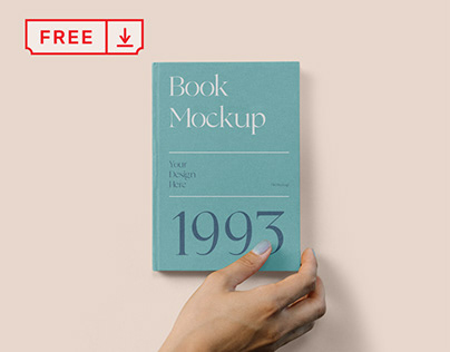 Free Hard Cover Book with Hand Mockup