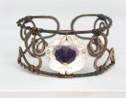 Real Flower bracelet- Grandma's Garden Jewelry