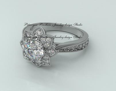 Vintage Inspired Halo Diamond Engagement Ring