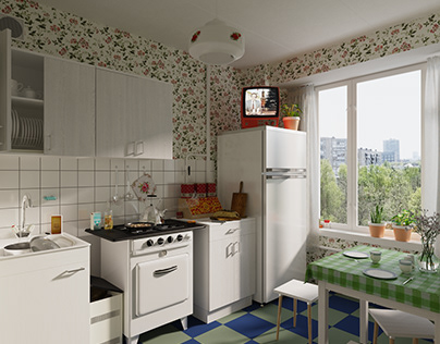 Soviet kitchen from the late 80-ies.