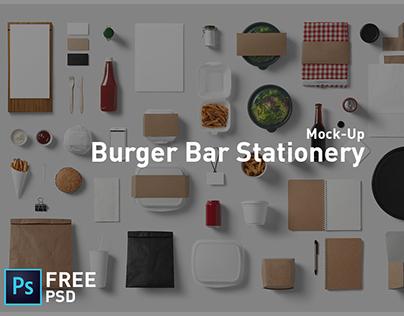 Burger Bar Stationery Mock-Up Free