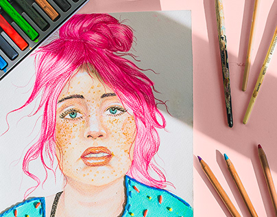 Bubblegum hair / Watercolour portrait