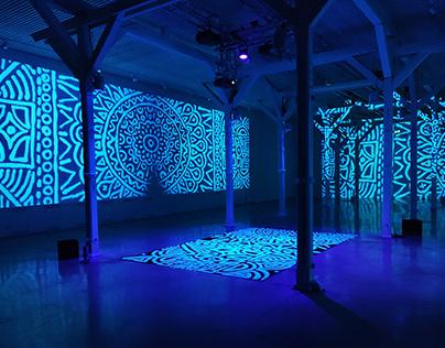 Interactive light installation at White night 2020