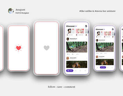 Heart & Menu Design microinteractions for mobile app