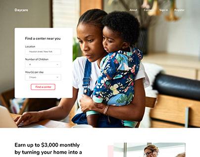 Daycare website landing page